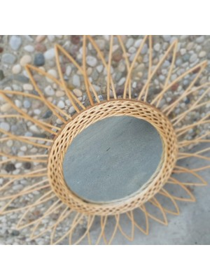 Specchiera in rattan naturale di diametro cm. 50
