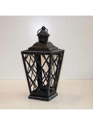 Lanterna in metallo nero con anticatura bianca a base quadrata da cm. 9
