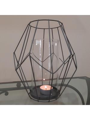 Lanterna portacandela moderna in metallo e vetro H cm. 21